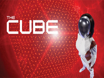 Man dressed in white with helmet ready for The Cube Experience