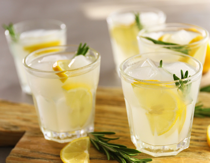 Glasses of gin and tonic with rosemary
