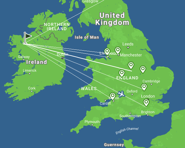 Map of flight destinations from UK to Ireland